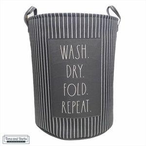 Rae Dunn WASH DRY FOLD REPEAT Laundry Bin / Hamper